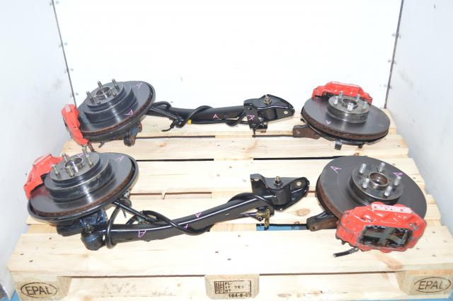 Used JDM Front 4 Pot & Rear 2 Pot Red Calipers and 5x100 Hub Kit for Sale