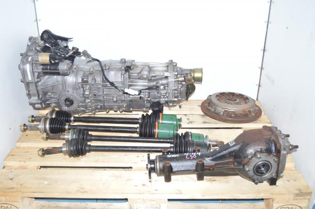 JDM 5mt LSD 4.44 Transmission Package: Axles, Rear Differential & Clutch for 2002-2005 Subaru WRX Pull Type