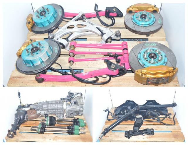 JDM V7 TY856WB1CA Non-dccd Front LSD Version 7  6-speed Transmission Swap with 4 Corner Brembos, Axles, 5x100 Hubs, Flywheel, Pressure Plate, Project Mu discs, Pink Lateral Links, Pink Rear Arms,  Rear R180 Differential For Sale