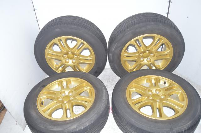 Used JDM  Subaru SF5 / WRX 5x100 Gold 16 inch Wheels with Yokohama Tires 215 / 65 R16