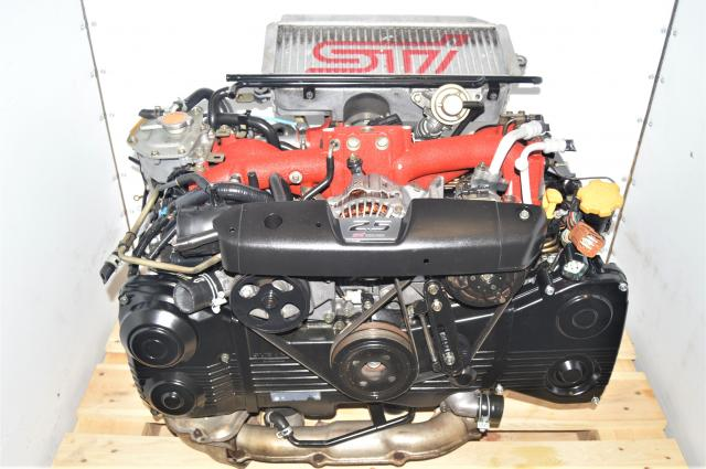 Used JDM Subaru Forester STi 2004-2007 2.5L EJ255 DOHC AVCS Engine Swap for Sale with Turbocharger, Intercooler & Downpipe