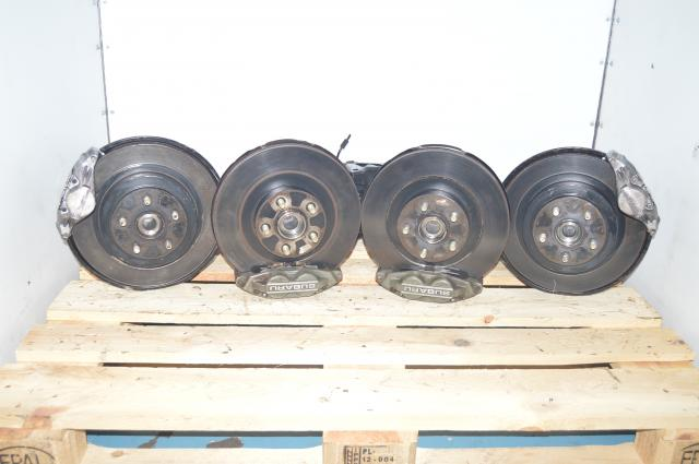 JDM Used Subaru WRX 4 Pot Front and 2 Pot Rear Grey Brake Calipers w/Hubs, Trailing arms, Discs, Pads and Rotors for sale