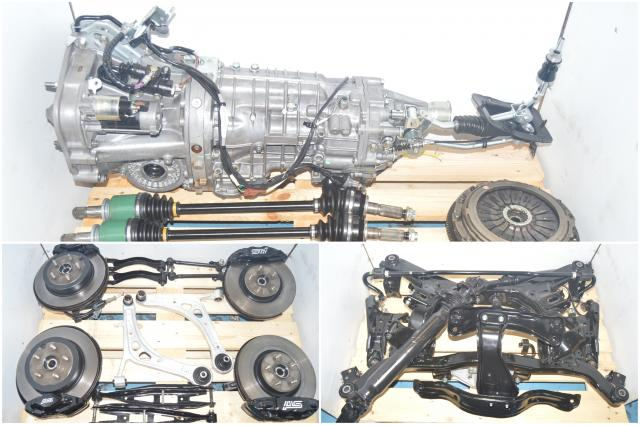 JDM Subaru WRX STi TY856UB9AA 6-Speed Transmission Swap with Axles, Brembo Calipers, 5x114.3 Hubs & Driveshaft for Sale