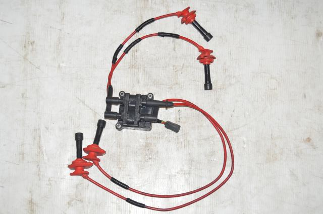JDM Subaru Impreza EJ20 EJ25 Ignition Coil, Plugs and Red Wires for sale
