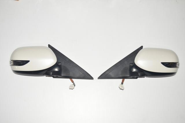 JDM Subaru GRB Version 10 Exterior Side Wing Mirrors in White w/Turn Signal for 2008-2014 WRX & STI