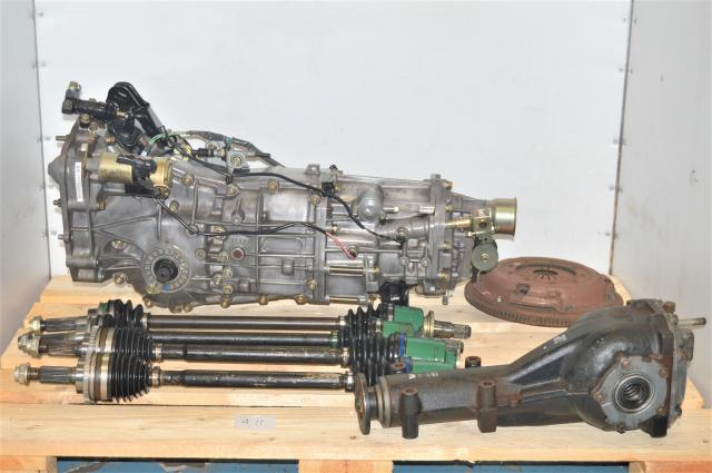 Used Subaru JDM Push-Type Dual-Range Transmission with 4.11 Rear Differential, Axles, Flywheel & Pressure Plate for Sale