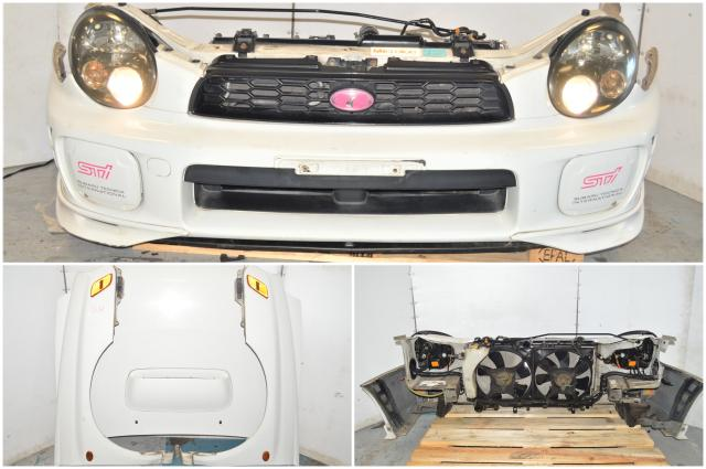 JDM Subaru WRX Version 7 Bugeye 2002-2003 White Front End Conversion with Rad Support, Fenders, Hood & HID Headlights with Ballasts
