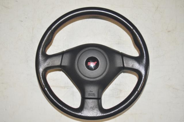 Subaru JDM Version 9 Black & Red Stitching STI Steering Wheel for 2005-2007