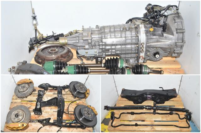 JDM Version 7 Non-DCCD 2002-2007 Subaru WRX STi 6-Speed Transmission Package with Brembos, Front LSD, Rear R180 Diff, Axles, 5x100 Hubs & Subframe for Sale