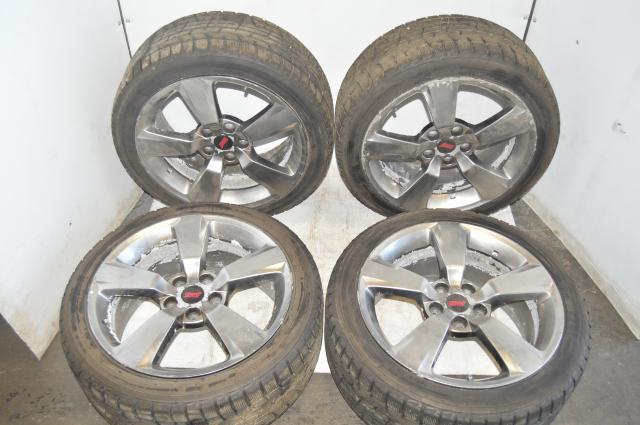 Subaru JDM Version 10 WRX STI 5x114.3 et55 18x8.5 5-Spoke Wheels w/Yokohama Ice Guard IG50 Winter Tires