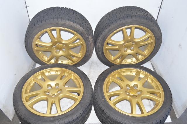 JDM Subaru WRX STI Version 7 Gold Wheels w/Kenda KR36 Winter Tires For Sale for 2002-2007 WRX