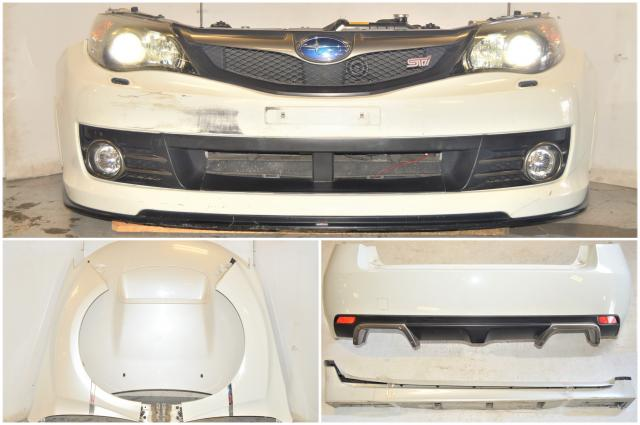 Subaru STI Version 10 Aspen White Complete Front Nose Cut w/HIDs, Fenders, Fogs, Hood, Rear Bumper, Sideskirts, Splitter, Rad and Support for 2008-2014 STI