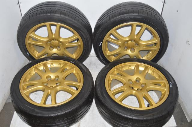 Subaru Version 7 STI Gold Wheels with Falken Ziex Tires for 2002-2007 5x100 Applications