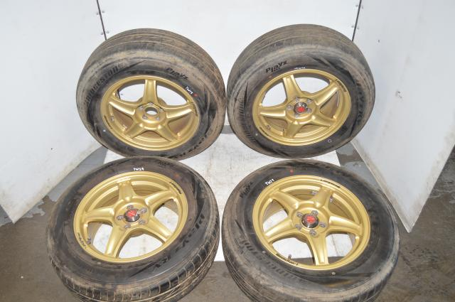 Gold WedsSport RS-5 SSTSSC 16x7 Wheels w/Bridgestone PlayZ Tires for 2002-2007 5x100 Applications