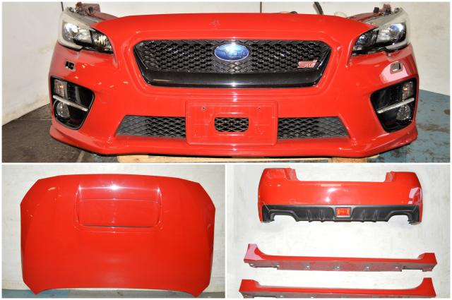 2015 Subaru WRX STI Red VA Nose Cut, Rear Bumper, Side Skirts, Headlights, Fenders, Grille For Sale for 2015+ Models