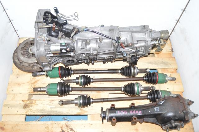 JDM Subaru WRX 2002-2005 5 Speed Manual GDA 5MT Swap with Used Clutch Assembly, 4 Corner Axles & 4.444 Rear LSD for Sale