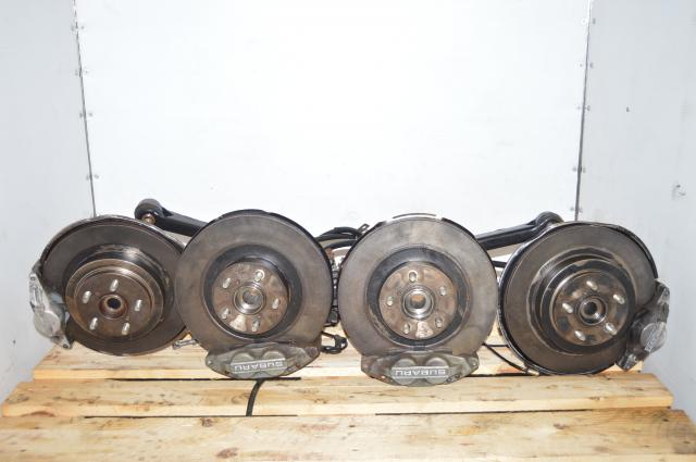 JDM Subaru GC8 WRX Grey 4 Pot 2 Pot Brake Calipers & Hubs For Sale 1994-2001