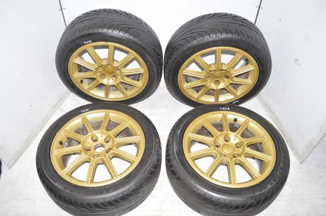 Subaru Version 9 STI Gold Enkei 5x114.3 Wheels and Tires for 2006-2007 WRX STI