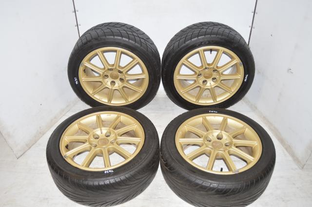 Subaru Version 9 GDB Gold Enkei Mags and 235/45/17 Summer Tires for 5x114.3 Applications