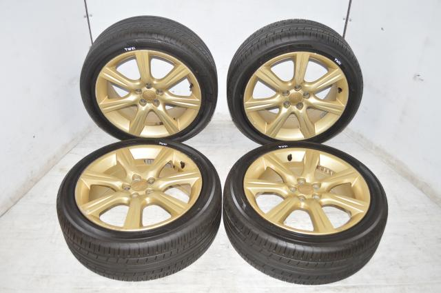 2006-2007 Subaru WRX Version 9 Gold 5x100 Wheels and Tires CLEARS 4 POTS for sale