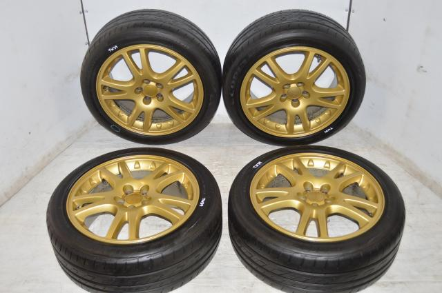 Subaru JDM Version 7 STI 5x100 Wheels with 225/45/17 Ecopla PZ-X Tires
