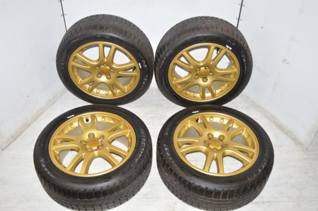 Used JDM Version 7 GDA GDB 5x100 Gold OEM Mags for Sale with NEXEN Winguard Tires 225/50R17