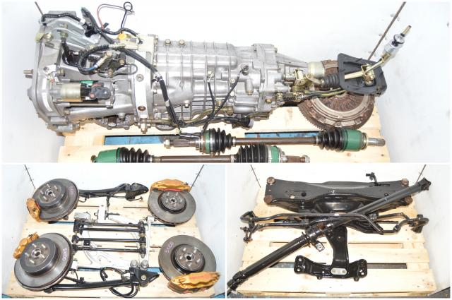 JDM 6 Speed TY856WB1CA Version 7 Front LSD Transmission with Rear R180 3.9 STi Differential, Brembos, 4 Corner Axles, Subframe & Driveshaft for Sale