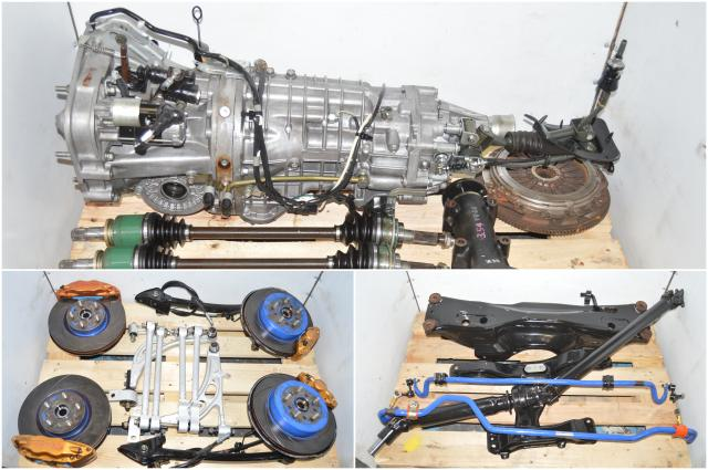 Used JDM Version 9 Spec-C TY856WB8JA  6-Speed STi Transmission with 5x114 Hubs, Brembos, Lateral Links, Control Arms, Aftermarket Strut Bars & Subframe for Sale