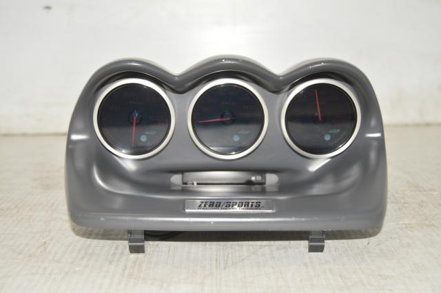 JDM Used WRX STi GDB 2002-2007 DEFI-Link Advance BF Triple Gauge Pod Amber Red with ZeroSports Gauge Pod & Digital Clock Unit