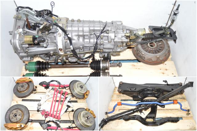 JDM Version 8 Spec-C DCCD TY856WB3JA 5x114 STi Transmission with Pink Lateral Links & Trailing Arms, 3.9 R180 Diff, Axles & Brembo Calipers for Sale