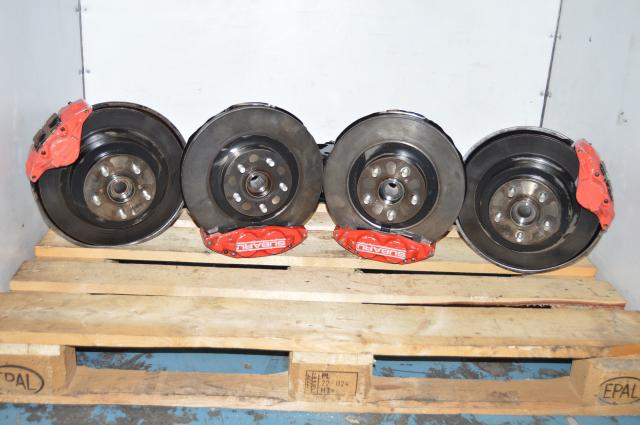 Used JDM Subaru 5x100 GDA 4 Pot / 2 Pot Brake Kit for Sale with Red Calipers