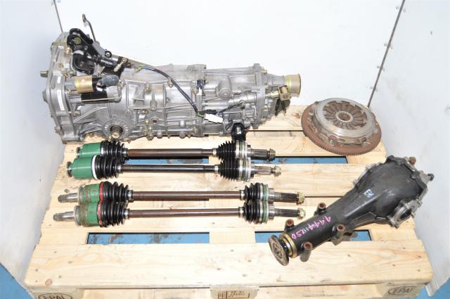 Used WRX 2002-2005 5-Speed Manual GD Transmission with 4.444 Rear LSD, 4 Corner Axles & Clutch for Sale