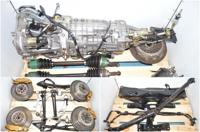 Used Subaru STi TY856WB3KA 2002-2007 Version 8 DCCD Transmission with 5x100 Hubs, Brembos, Axles, R180 Diff & Aluminum Control Arms for Sale