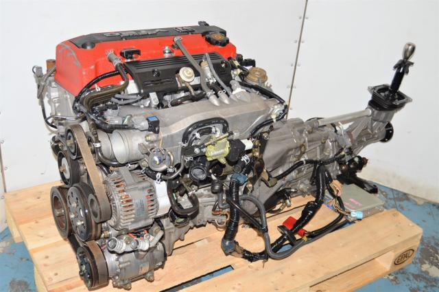Used Honda S2000 AP1 F20C 2.0L VTEC DOHC Engine Swap for Sale with Transmission, ECU, Engine Harness & Shifter Assembly