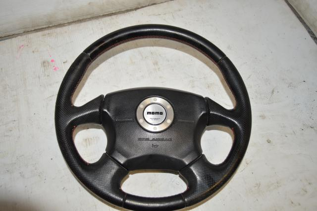 Used Subaru Red Stitching MOMO Steering Wheel Version 7 for 2002-2003 Impreza & WRX Models