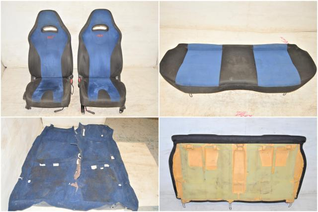 Used JDM Subaru STi Blue Front Seats, Rear Bench & Interior Carpet For Sale 2002-2007