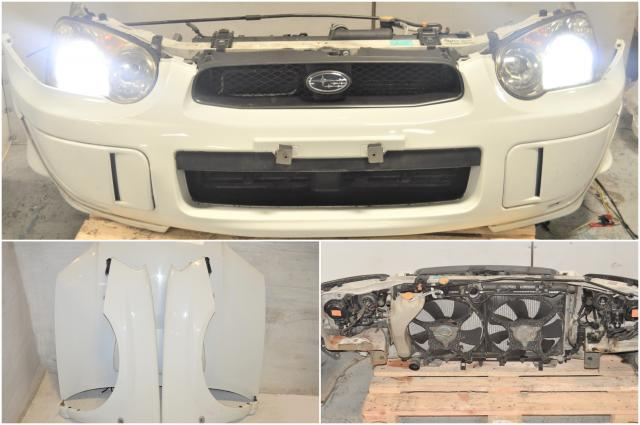 Used Subaru WRX 2004-2005 Version 8 JDM White Nose Cut Assembly with HID Headlights, STi Hood, Front Fenders & Rad Support for Sale
