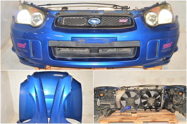 Used Subaru STi 2004-2005 Blobeye Version 8 WRB Nose Cut / Front End with HID Headlights, Foglight Covers, Fenders & Radiator for Sale