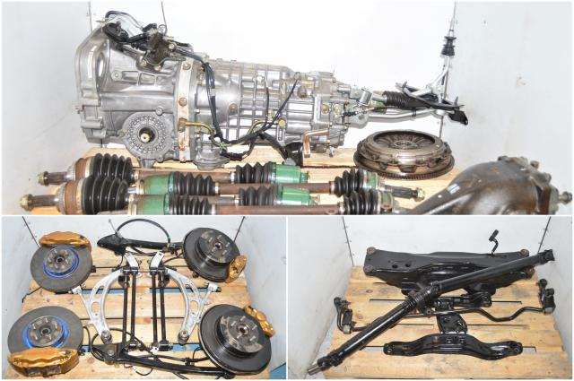 Used STi TY856WB1AA Version 7 2002-2007 Subaru 6-Speed Manual Transmission with GDB Axles, R180 Differential, Driveshaft & Brembo Calipers with 5x100 Hubs for Sale