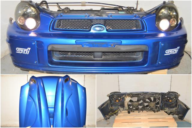 Used JDM Subaru WRB Prodrive Version 7 Bugeye 2002-2003 Front End Conversion with Bumper, HID Headlights, Grille, Fenders with STi Badge Sidemarkers & Rad Support
