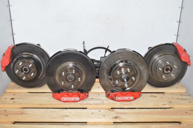 Used JDM Red 4 Pot (Front) & 2 Pot (Rear) WRX 2002-2005 Brake Assembly for Sale