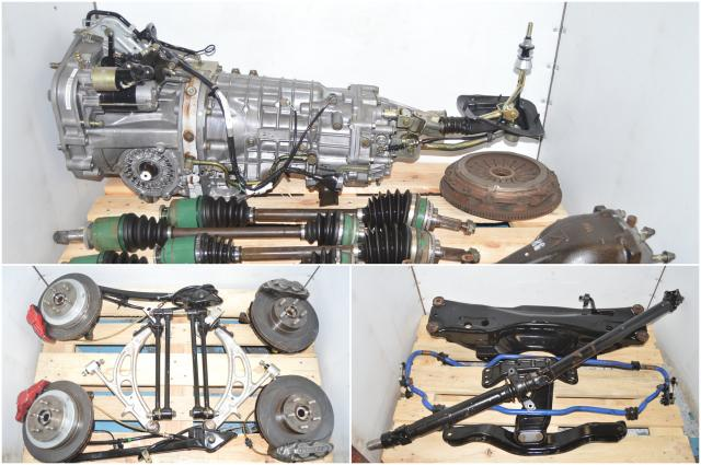 JDM Version 7 TY856WB1CA 6-Speed Transmission with R180 4 Pot / 2 Pot 5x100 Brake Kit, Driveshaft, Rear Differential, Axles & Used Clutch Assembly