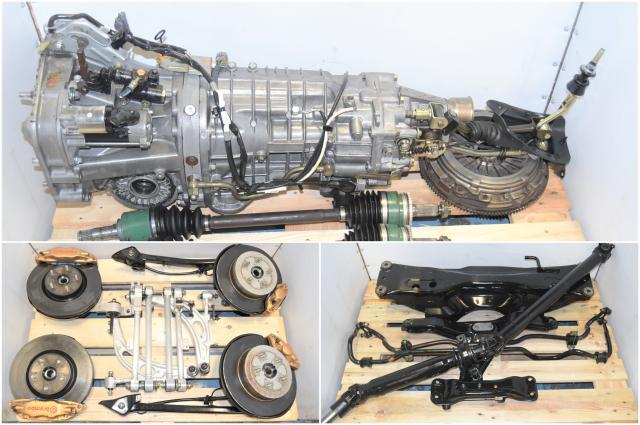 Used JDM Subaru STi TY856WB7KA DCCD Transmission with 5x114 Hubs, Brembo Calipers, Aluminum Control Arms, Lateral Links, Driveshaft, Axles & R180 3.54 Rear Differential