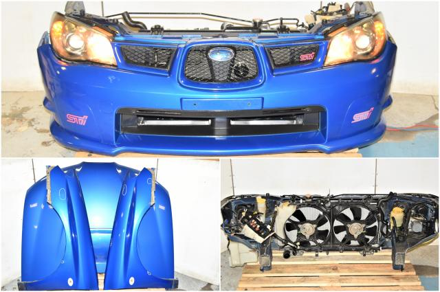 Used WRX Hawkeye Version 9 2006-2007 JDM Front End Conversion with HID Headlights, Hood, Front Bumper Cover, Rad Support, Fenders & STi Hood Scoop for Sale