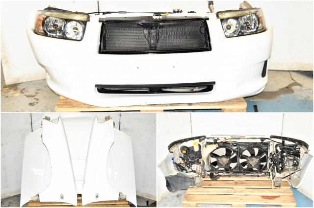 Used Subaru Forester SG9 White Front End Conversion with Headlights, Fenders, Hood, Grille, Front Bumper & Rad Support