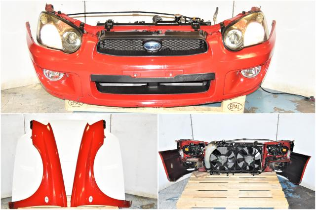 Used Subaru Version 8 2004-2005 Red Front End Conversion with Front Bumper, Foglights, HID Headlights, Fenders & Hood for Sale with Rad Support