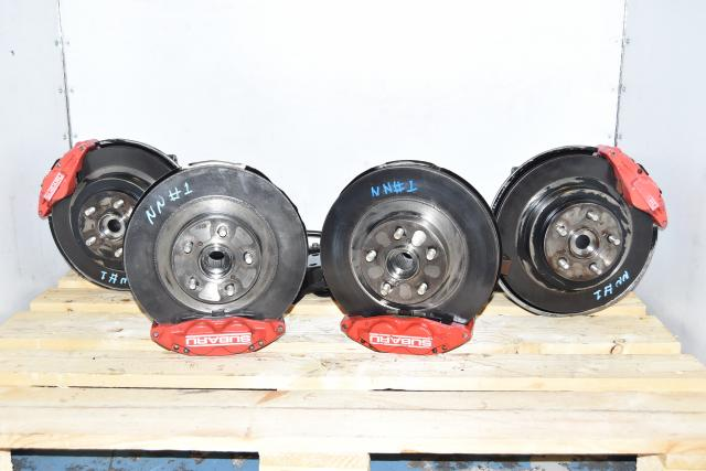 Used JDM Red Caliper 4 Pot Front & 2 Pot Rear Brake Assembly for Sale WRX 2002-2005