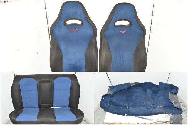 Used Blue JDM STi Version 8 Front Seats & Rear GD Seats with Armrest for Sale & Interior RHD Carpet