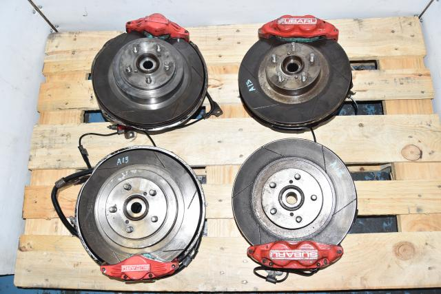 Used Subaru Red 4 Pot / 2 Pot Brake Caliper Set with Slotted Rotors & Hubs For Sale