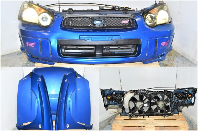 Used JDM Subaru 2004-2005 Version 8 WRB Nose Cut with Fenders, Hood, Front Bumper, HID Headlights, Rad Support with Radiator for Sale
